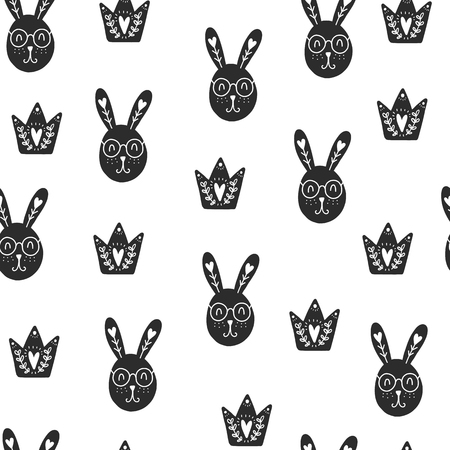 Seamless scandinavian pattern. Vector Valentines Day background with different elements. Design for prints, shirts and posters. Çizim