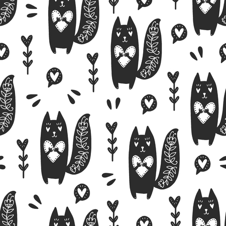 Seamless scandinavian pattern. Vector Valentines Day background with different elements. Design for prints, shirts and posters. Ilustração