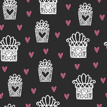 Seamless scandinavian pattern. Vector Valentines Day background with different elements. Design for prints, shirts and posters. Stok Fotoğraf - 93718718