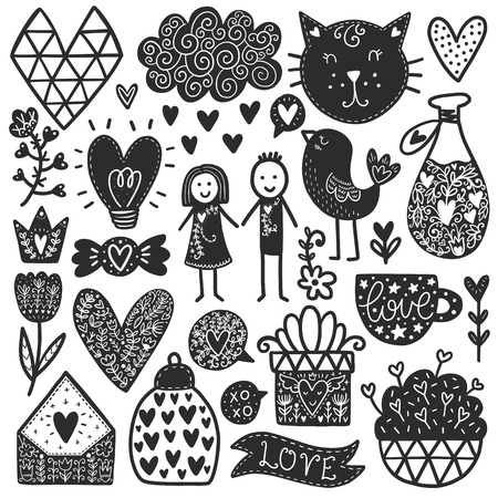 Scandinavian Doodles elements. Black vector items. Illustration with new year decor. Design for prints and cards.