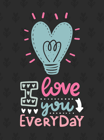 Vector scandinavian lettering poster. Creative typography card with phrase. Romantic text. Ilustração