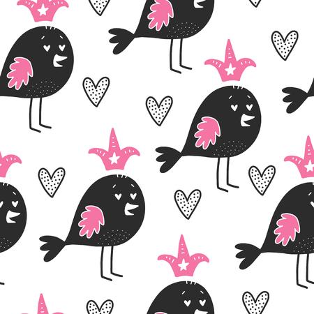 心を持つ鳥のパターン  イラスト・ベクター素材