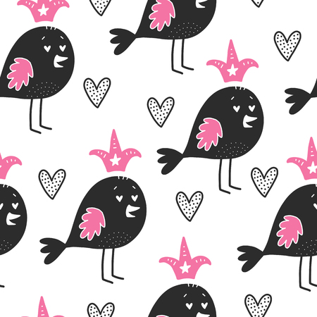 Bird pattern with hearts