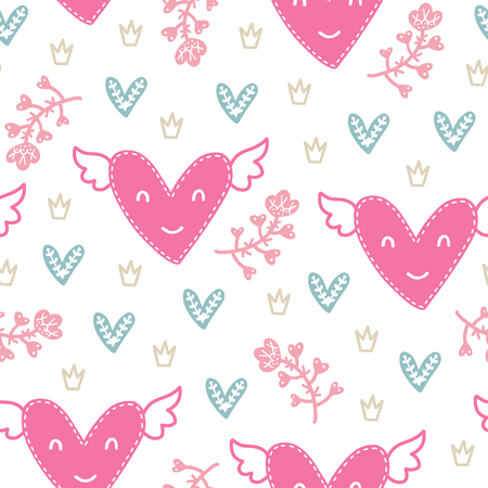 Seamless scandinavian pattern. Vector Valentines Day background with different elements. Design for prints, shirts and posters. Stok Fotoğraf - 93718962