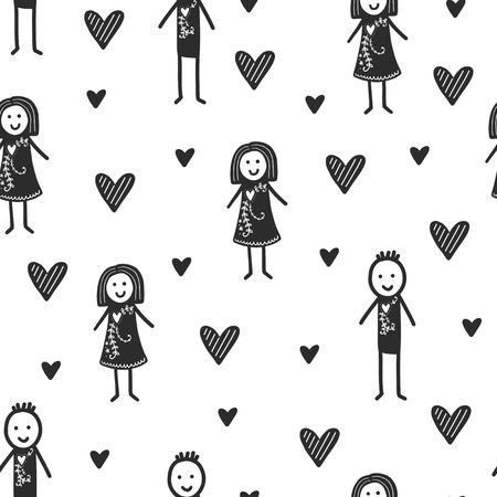 Seamless scandinavian pattern. Vector Valentines Day background with different elements. Design for prints, shirts and posters. Illusztráció