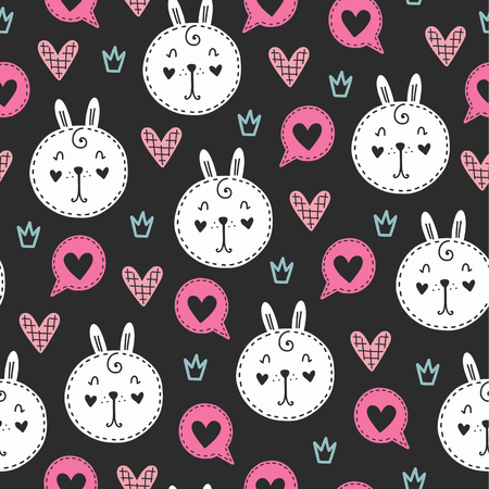 Seamless scandinavian pattern. Vector Valentines Day background with different elements. Design for prints, shirts and posters. Vectores