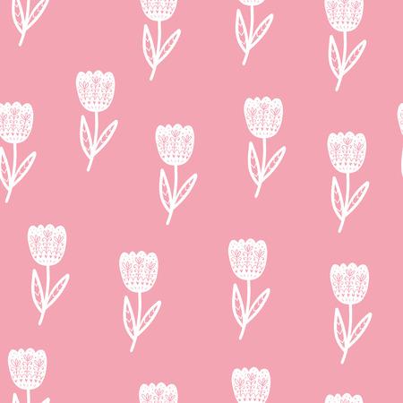 花のスカンジナビアパターン。異なる要素を持つベクトル背景。プリント、シャツ、ポスターのデザイン。