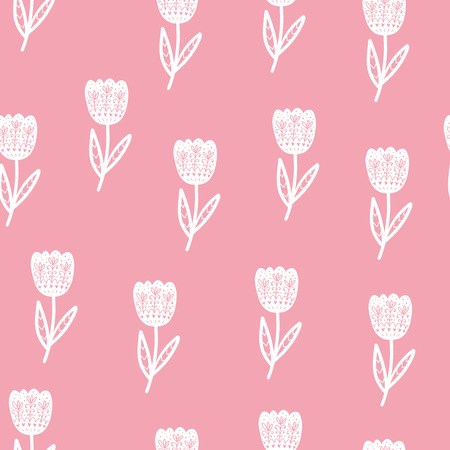 Floral Scandinavian pattern. Vector background with different elements. Design for prints, shirts and posters.