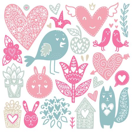 스칸디나비아 낙서 요소입니다. 색 벡터 항목입니다. 새 해 장식으로 그림입니다. 인쇄물 및 카드 용 디자인.
