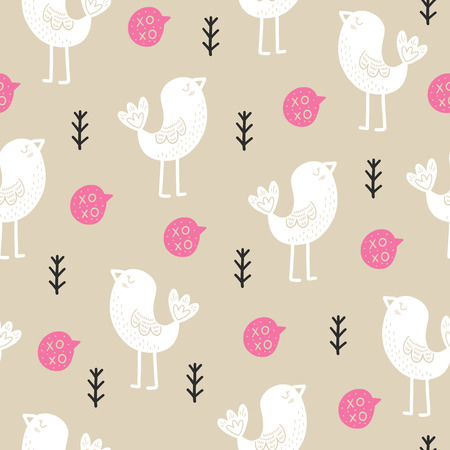 Seamless Scandinavian pattern. Vector Valentines Day background with different elements. Design for prints, shirts and posters.