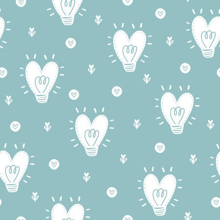 Seamless scandinavian pattern. Vector Valentines Day background with different elements. Design for prints, shirts and posters. Иллюстрация
