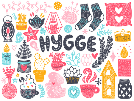 Skandinavische Doodles-Elemente. Farbvektorelemente. Abbildung mit Dekor des neuen Jahres. Design für Drucke und Karten. Übersetzung - gemütlich.