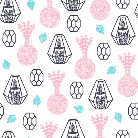 シームレスな居心地の良いスカンジナビアパターン。異なる要素を持つベクトル背景。プリント、シャツ、ポスターのデザイン。
