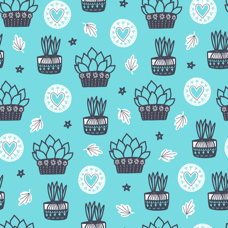 Cozy seamless Scandinavian pattern vector background with different elements. Design for prints, shirts and posters.