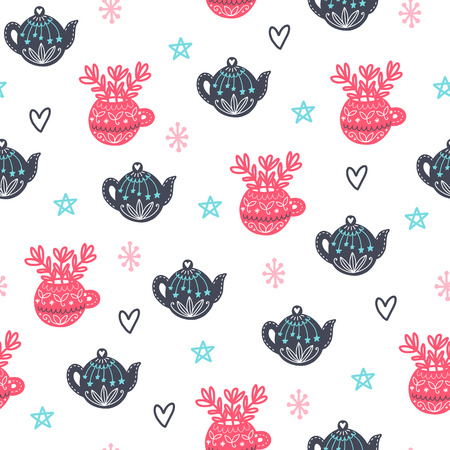 Seamless cozy scandinavian pattern. Vector background with different elements. Design for prints, shirts and posters. Иллюстрация