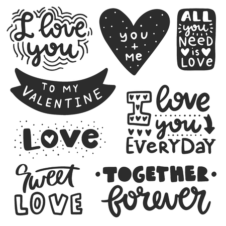 Vector hand drawn lettering poster. Creative typography card with phrases. Romantic text collection.