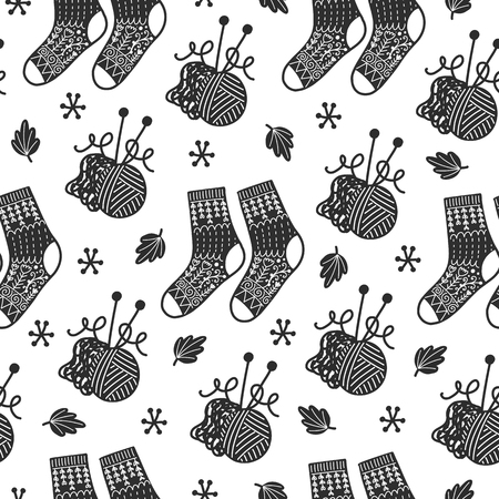 Seamless cozy scandinavian pattern. Vector background with different elements. Design for prints, shirts and posters. Ilustração