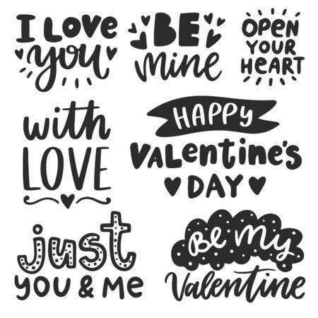 ベクトル手描きレタリングポスター。フレーズを持つ創造的なタイポグラフィカード。ロマンチックなテキストコレクション。