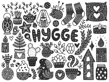 Scandinavian Doodles elements. Black vector items. Illustration with new year decor. Design for prints and cards. Translation - cozy. Ilustração
