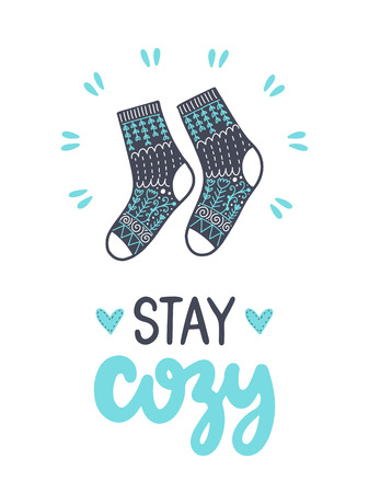Stay cozy hand drawn calligraphic lettering with socks design.