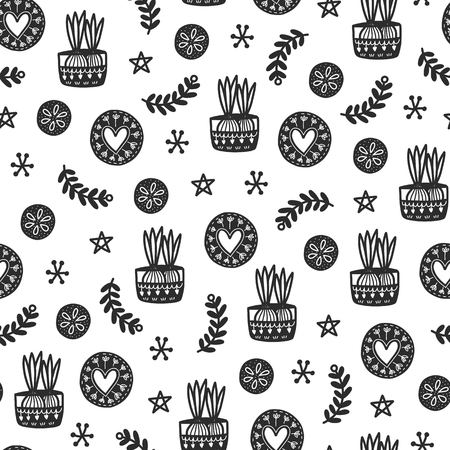 Seamless cozy scandinavian pattern. Vector background with different elements. Design for prints, shirts and posters. Çizim