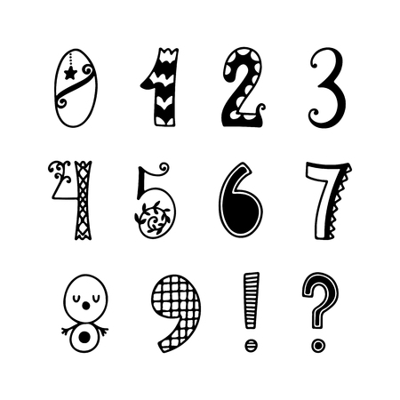Funny hand drawn numbers. Vector decor set. Fun fairytale style with decorations.