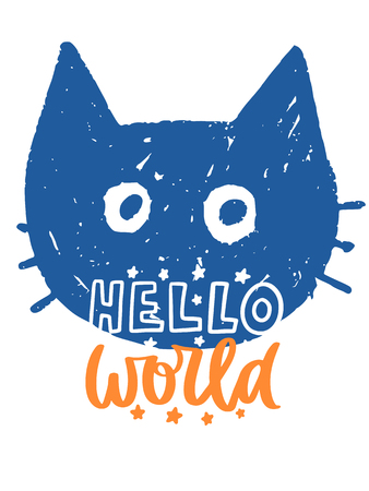 Colorful cartoon illustration of cat with hello world lettering.