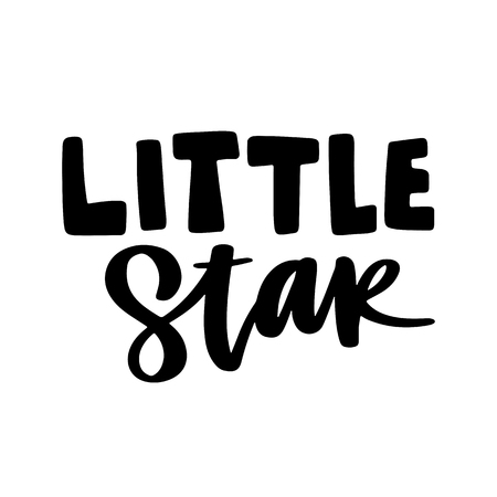 Hand drawn little star lettering isolated on white background.