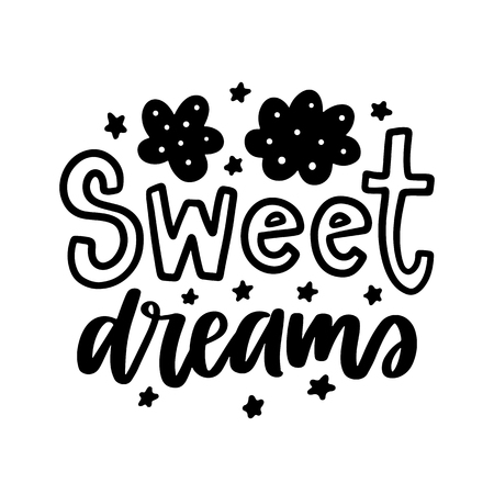 Hand drawn sweet dreams lettering isolated on white background. Illusztráció
