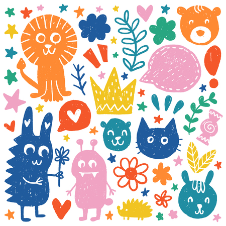 Kids Doodles elements. Color vector items. Illustration in hand drawn style. Design for prints and cards.