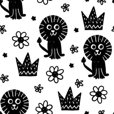 Seamless childish pattern. Vector kids background with hand drawn elements. Design for prints, shirts and posters.