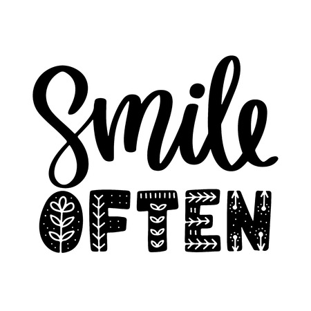 Vector poster with phrase and decor elements. Typography card, image with lettering. Black quote and different decorations - smile often