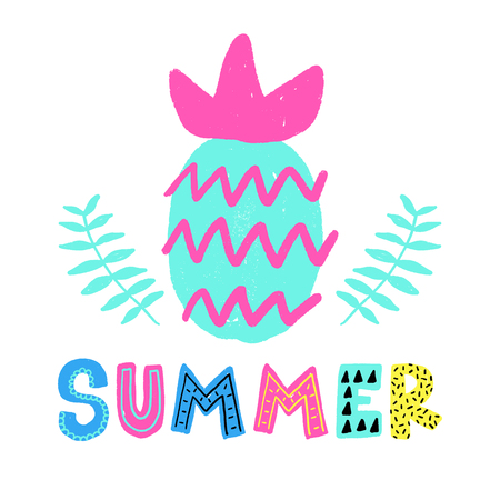 Summer vector card. Colorful items and lettering. Tropical background in hand drawn style. Design for prints with phrase. Фото со стока - 97217341