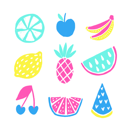 Summer vector elements collection. Colorful isolated hand drawn different items.