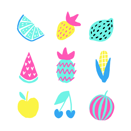 Summer vector elements collection. Colorful isolated hand drawn different items. Design for T-shirt, textile and prints.