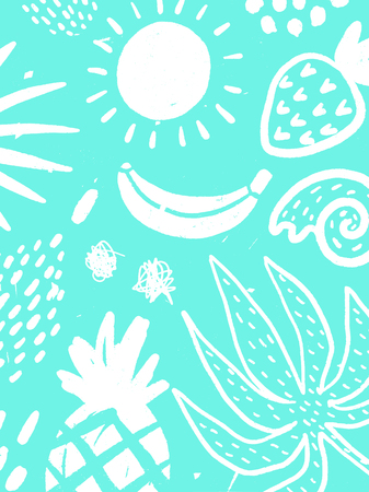 Colorful background with elements of a banana, sun and pineapple.
