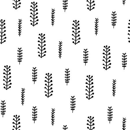 シームレスな手描きパターン。自然要素を持つベクター背景。プリント、シャツ、ポスターのデザイン。