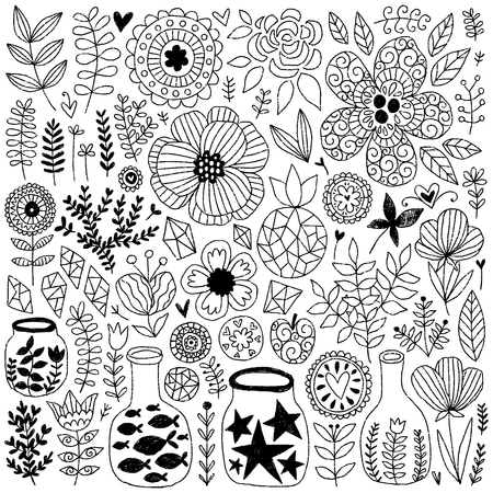 Nature vector elements collection. Summer isolated hand drawn different items. Design for T-shirt, textile and prints. Standard-Bild - 99076585