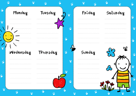 Daily planner template, diary childish page.c