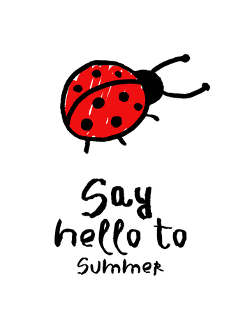 Summer vector card. Colorful illustration with lettering. Kids background in hand drawn style. Design for prints.  イラスト・ベクター素材