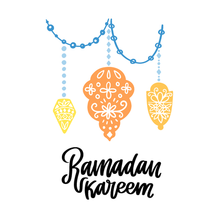 Ramadan Kareem theme. Vector card with flashlights and lettering. Hand drawn illustration with lamps. 版權商用圖片 - 99508040