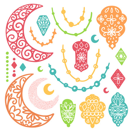 Ramadan Kareem theme. Vector card with flashlights and moon. Hand drawn illustration with lamps and crescent.