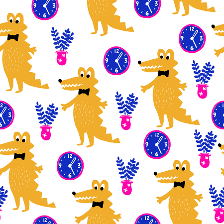 Seamless creative hand drawn pattern in modern style. Vector background with different elements. Design for prints, shirts and posters.