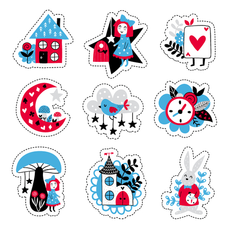 Fairytale cute elements. Color vector stickers. Illustration with girl and decor. Design for prints and cards. Illustration