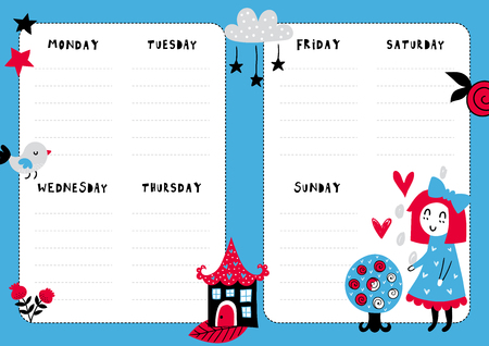 Daily planner template. Note paper with funny Illustrations. Perfect for kids. Organizer and calendar with magic elements. Illustration