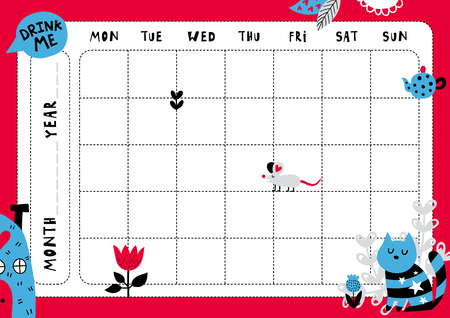 Daily planner template. Note paper with funny Illustrations. Perfect for kids. Organizer and calendar with magic elements.  イラスト・ベクター素材