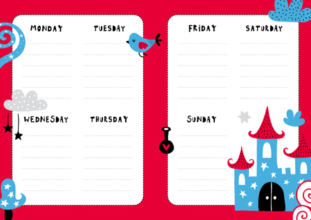 Daily planner template. Note paper with funny Illustrations. Perfect for kids. Organizer and calendar with magic elements. Çizim