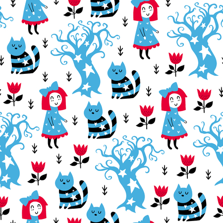 Fairytale cute seamless pattern. Color vector background. Illustration. Design for T-shirt, textile and prints.