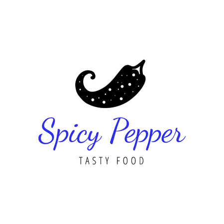 Vector scandinavian logotype, decorative illustration with pepper and text.
