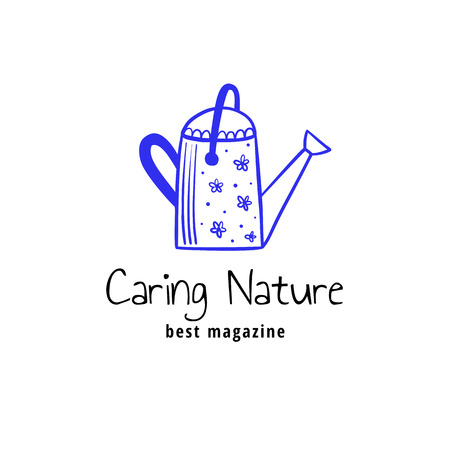 Vector logotype, decorative illustration with watering can and text.